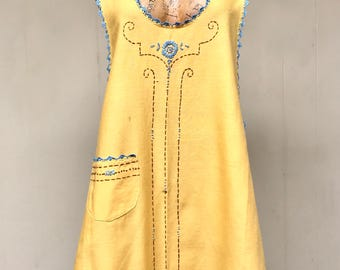 1920s Apron / 20s Marigold Cotton Hand-Embroidered Full Apron