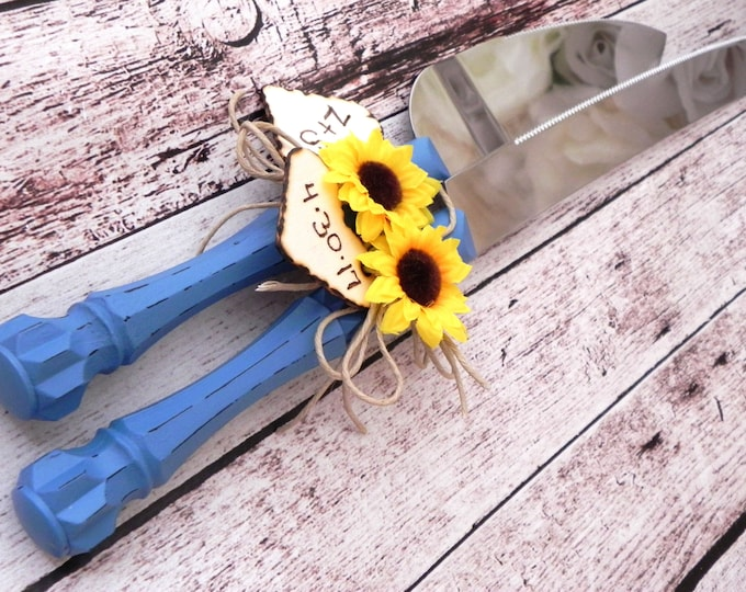 Rustic Chic Wedding Cake Server And Knife Set, Country Blue with a Sunflower, Personalized Wood Hearts, Bridal Shower Gift, Wedding Gift
