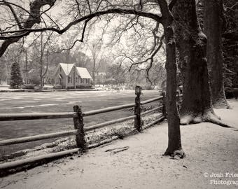 Winter Landscape Photograph Frozen Lake Afton Fence with Fresh Snow Old Library Black and White Photo Yardley Bucks County Pennsylvania