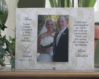 Mother of the Bride Gift from Groom,  Mother of Bride Gift from Groom, Personalized Wedding Picture Frame, Custom Photo Frame