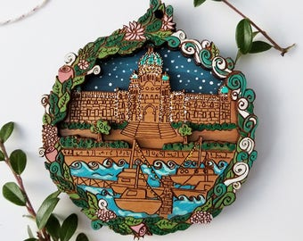 Victoria City Christmas Ornament // Victoria British Columbia Wooden Art