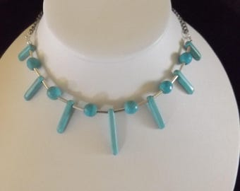 Turquoise Spike and Ball Beaded Necklace
