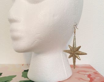 Gold Glitter Star Earrings