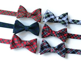 Tartan Plaid Bow Tie~Mens Self Tie Bow Tie~Mens Pre Tied~Anniversary Gift~Wedding Tie~HoBo Ties~Cotton Bow Tie~Mens Gift~Wedding~Mens Plaid