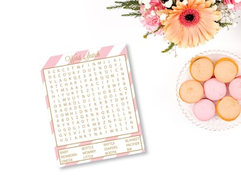 Baby Shower Word Search, Printable Baby Shower Game, Word Search Printable, Baby Word Search, Pink and Gold Baby Shower, Girl Baby Shower