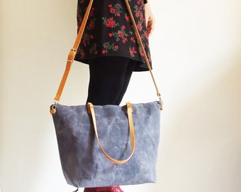 Waxed Canvas Bag, Waxed Canvas Tote, Crossbody Bag, Diaper Bag, Leather Straps