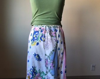 Patchwork Floral Vintage Skirt Hanky Hem Skirt Size Medium by Leeba Marks Los Angeles