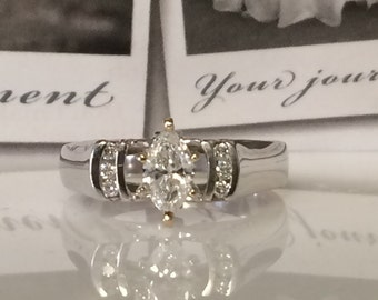 Custom Engagement Ring Princess Cut Natural Diamond White Gold