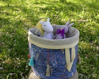 Toy basket - Basket  with brushes - Linen basket - Fabric storage - Fabric basket - Cotton basket