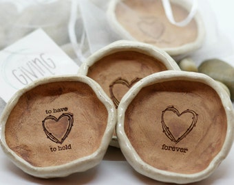 Wedding Favor Ceramic Ring Dish/25 Handmade Heart Dishes/Farmhouse Chic Bridal Shower Gift/Charity Donation/Wholesale Discount/FREE SHIPPING