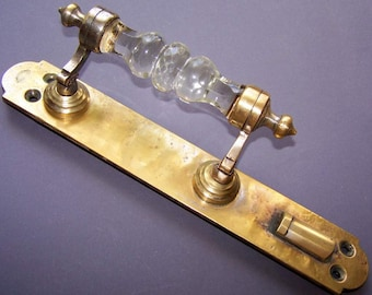 Gorgeous VIntage Metal and Glass Door Handle for Home Decor Pre-revolutionary Russia. Clear Glass Handle with stamp