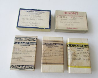 5 Small Vintage Pharmacy Empty Boxes Drug Store Prescription Box 1936 to 1950
