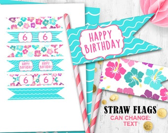Luau flags Cupcake toppers Cake toppers Hawaii Straw flags Luau birthday party flags