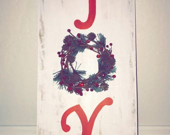 Hand made joy wreath wooden sign