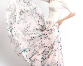 Maxi skirt, chiffon skirt, womens skirts, floral skirt, summer skirt, long skirt, flare skirt, elastic skirt, flower skirt, loose skirt C486