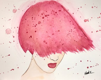 Original watercolor, portrait pink hair, 9x12 made on watercolor paper 140 lbs.