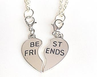 Silver Best Friends Necklaces - Set of Two Friendship Necklaces.Best Friend Two.Bff Necklace.Friendship Necklace Set.Matching Charms.Friends