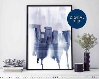 Stonehenge, England UK Watercolour Print Wall Art   Print At Home   Digital Download File