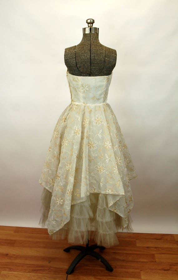 1950s formal dress strapless shelf bust ivory gold wedding