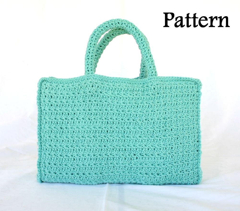 Book Tote Pdf Crochet Pattern Bag Handles Star Stitch Carrying Case