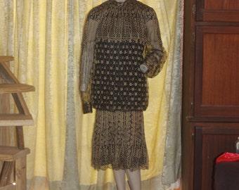 Vintage 80's Damianou Lace Gatsby Style 1920's Dress M