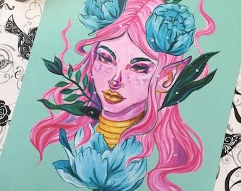 """Pink Pixie Print 5x7"""" & 8.5x11"""""""