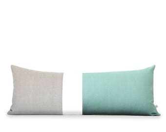 14x35 Aqua Colorblock Pillow Cover, Lumbar Pillow, Bedding, Decorative Pillows by JillianReneDecor, Aqua Bolster, Extra Long Color Block