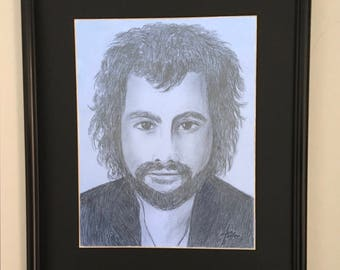 Cat Stevens, Pencil Portrait, Framed and Matted, Yusaf Islam, Art Print, Rock star, Musician