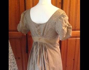 Regency dress, Jane Austen dress,  made to measure.  Regency dress cotton beige sprigs any size!