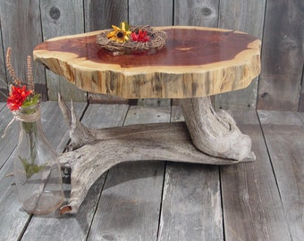 "Large Rustic Cake Stand, tree stump root base + wood slice top, appox 20""x15""x2"" top, 12.5"" tall, Texas Cedar, reclaimed wood stump"