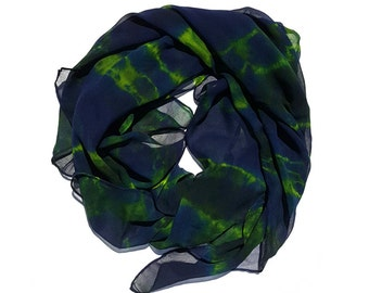 Green and Blue Abstract Organic Pattern Hand Dyed Silk Chiffon Scarf - a104