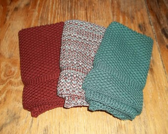 Dishcloths Knit in Cotton in Chestnut, Lt. Dusty Teal and Chestnut/Lt Dusty Teal/Lt Grey, Dishcloth, Wash Cloth, Kitchen, Knit Washcloth