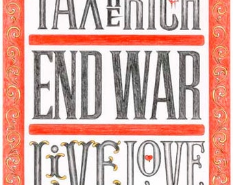 Tax the Rich - Poster - Sign painting, fileteado, social political change