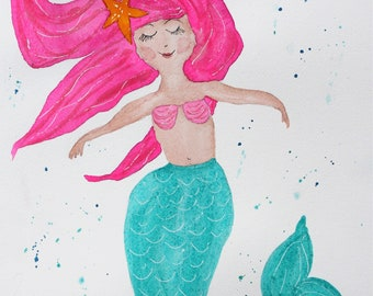 Mermaid Watercolor PRINT, mermaid painting, wall hanging, girls room decor, mermaid nursery