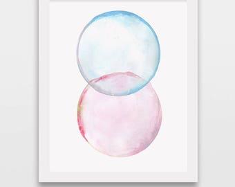 Abstract bubble art, wall art print, watercolor painting, minimalist painting, modern art, watercolor bubbles
