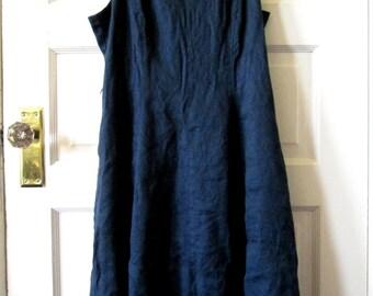 Lands End Navy Linen Dress, M - L