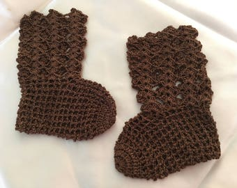"Vintage 60's ""KNITTED CROCHET BOOTiES""  in Soft Brown"