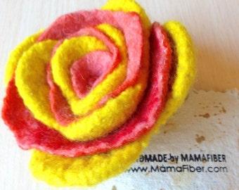 Woollen felted rose brooch - a flower pin in yellow-orange