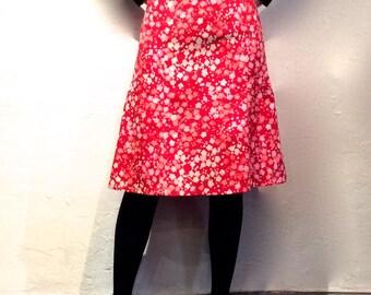 Tulip red Japanese printed cotton skirt