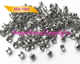 50 pcs- 8mm Swirl Pattern Metal Prong Studs-Avail. in Silver- DIY Clothing- Fast Shipping from USA w/ Tracking 4 Domestic Orders.