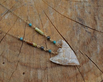 Authentic Relic Georgia Arrowhead Necklace // Gold Fill Chain // Grounding // Compassion // Truth // Detox // Forgiveness // Learning
