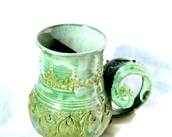 Stoneware mug - medium, double curve, seafoam green.  unique coffee mug tea cup sca feast mug game of thrones party mug