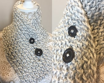 NEW- Short White and Gray Scarf