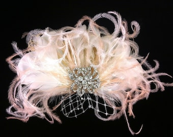 Bridal Feather Hair Clip with Brooch, Bridal Fascinator, Feather Fascinator, Fascinator, Bridal Veil, Ivory and Blush