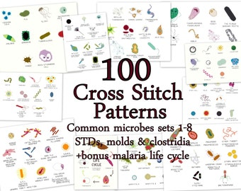 "Cross Stitch Patterns -- 100 Microbes, in 10 sets of 10, each to fit in 3"" embroidery hoops or frames, or for a gigantic sampler"