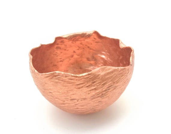 Handforged raised copper offering bowl, textured and highlighted made to order