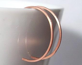 Small Hoop Earrings, Small Copper Hoops,  Hammered Copper Hoop Earrings - 1 inch diamter