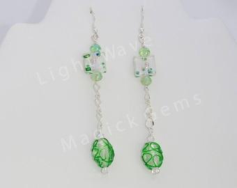 Spring Green Luck Shoulder Duster Earrings