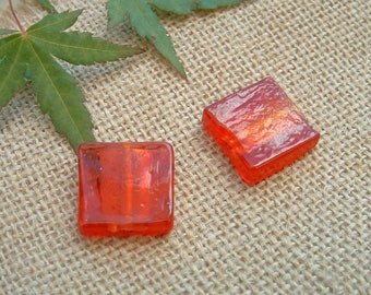 Set of 2 glass red with silver foil inlaid 20X20mm square beads