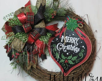 Christmas Wreath for Front Door-Red & Black Xmas Wreath-Country Christmas Wreath-Front Door Wreath-Burlap Xmas Wreath-Rustic Xmas Wreath